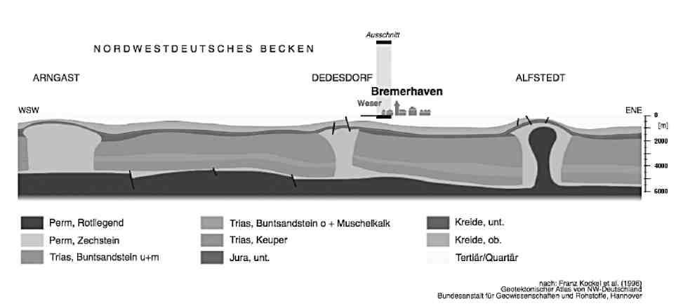 Рис. 3. Геологический профиль Северной Германии с соляными куполами (выделено синим цветом)